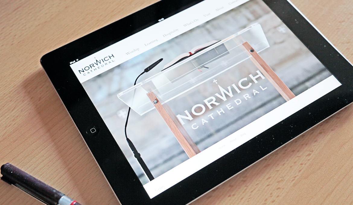 A picture of the Cathedral website being viewed on an iPad