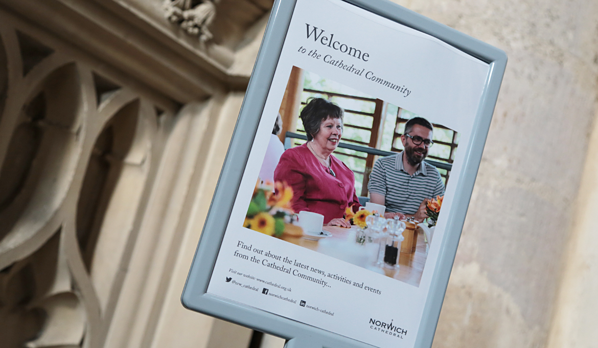 A picture of the Cathedral Community information point at Norwich Cathedral