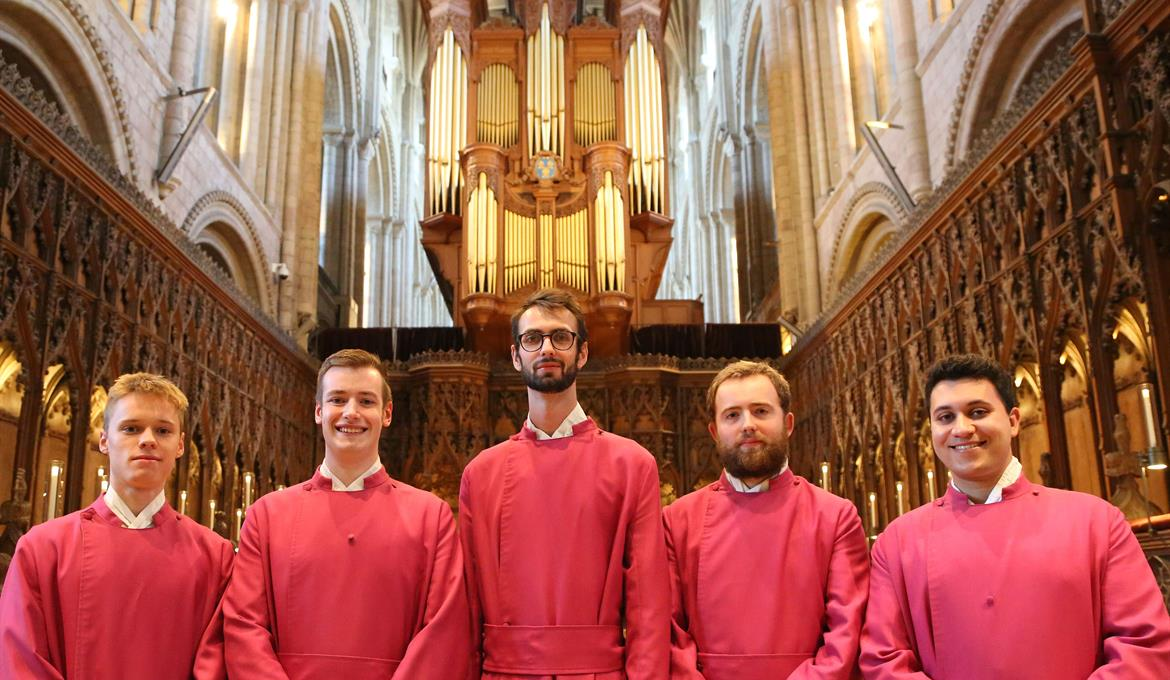 A picture of some of the Choral Scholars at Norwich Cathedral