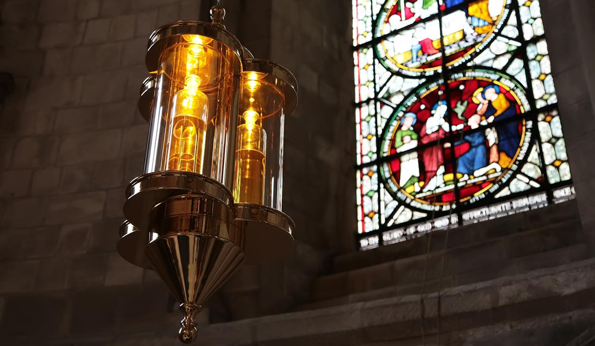 A picture of the hanging Chrismatory at Norwich Cathedral