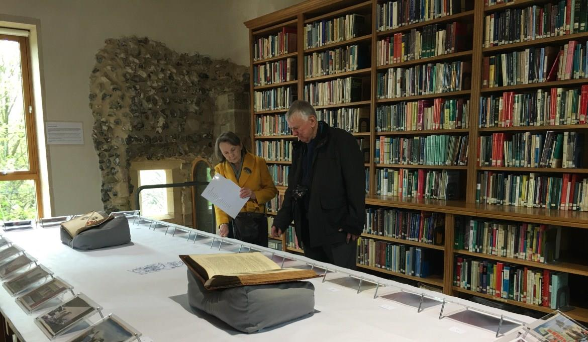 A picture of an exhibition in the Cathedral Library