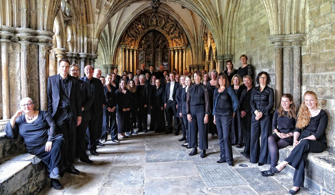 A picture of the Norwich Cathedral Chamber Choir in The Cloisters