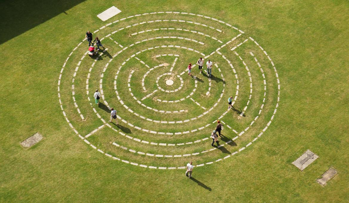 A picture of people walking the Labyrinth at Norwich Cathedral