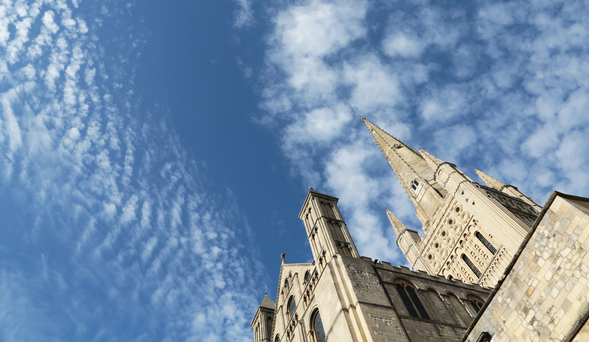 A picture of Norwich Cathedral and its famous spire