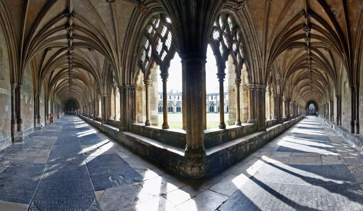 A warped photograph of the cathedral cloisters