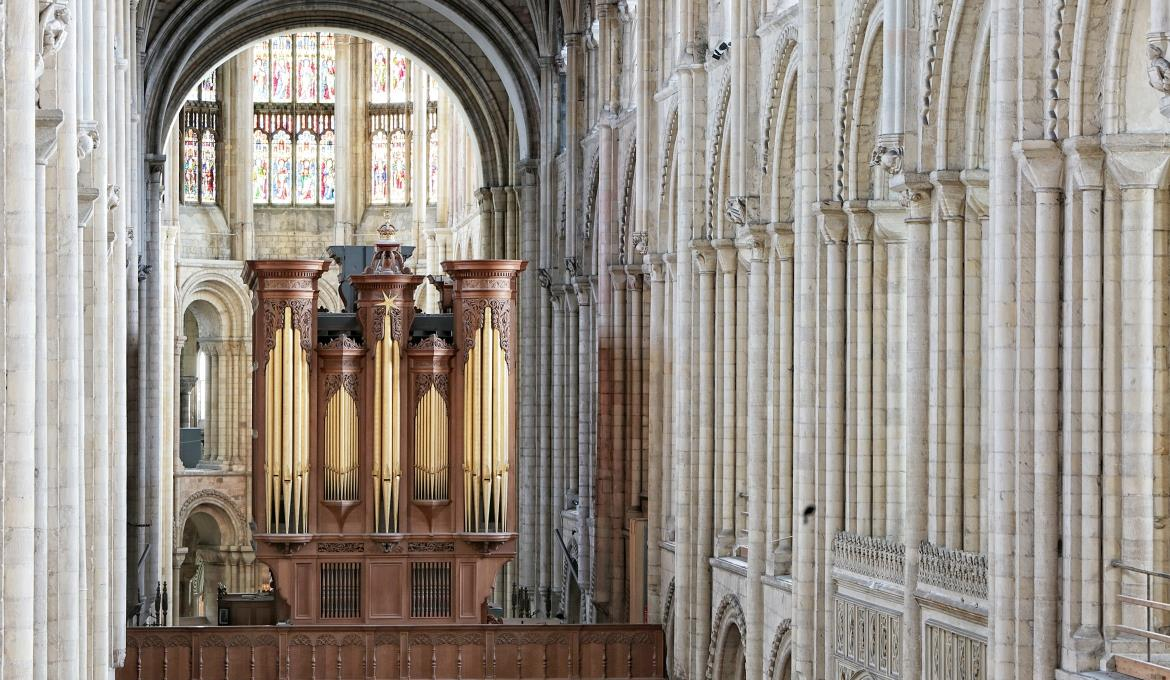 A picture of the cathedral organ from high in the nave