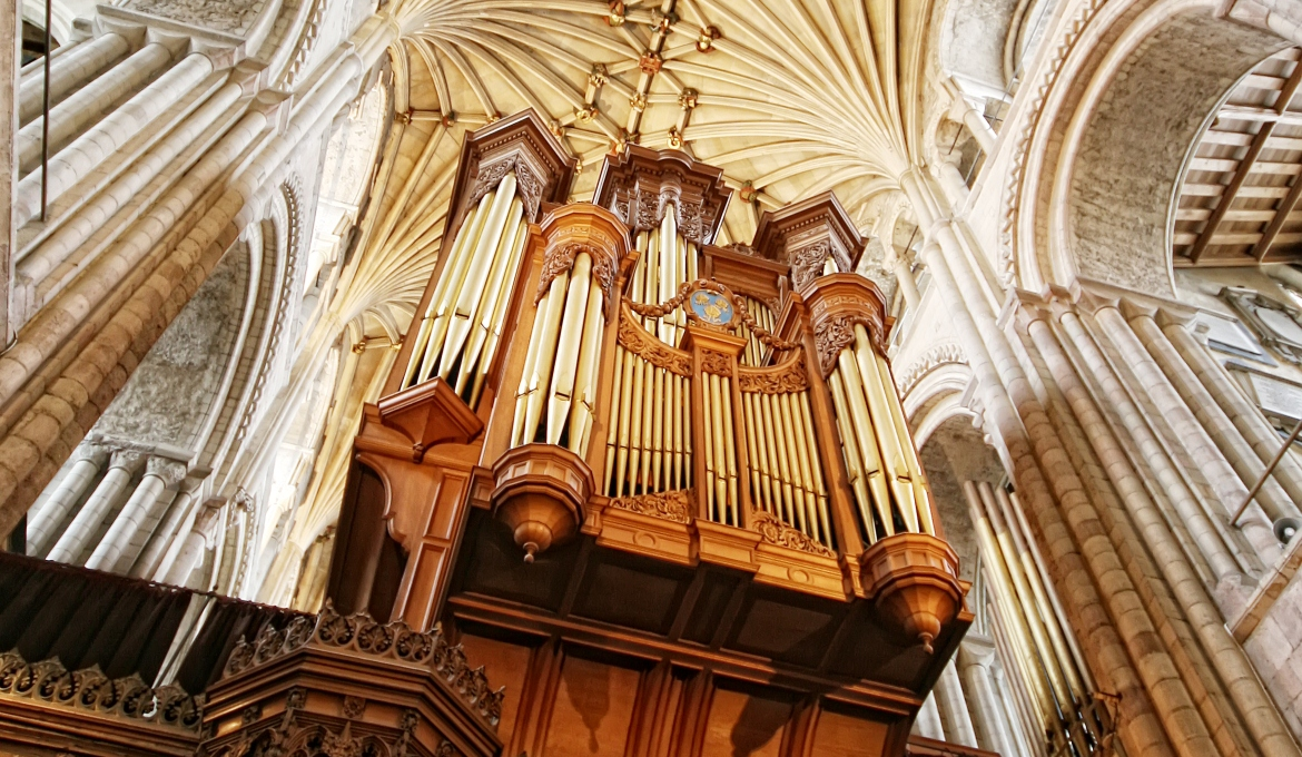 A picture of the cathedral organ from below