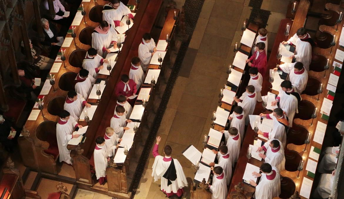 A picture of the Choir singing at a Cathedral service