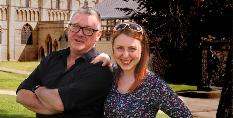 A picture of BBC Radio Norfolk presenters Stephen Bumfrey and Thordis Fridriksson