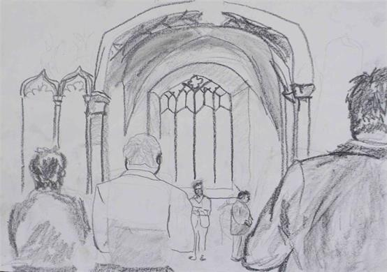 A drawing of the Cathedral Nave