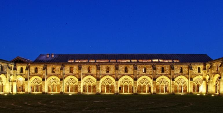 A picture of the Cathedral Cloisters at night