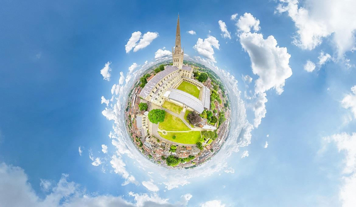 Norwich-Cathedral-Aerial-360-Little-Planet-Vortex-Visual