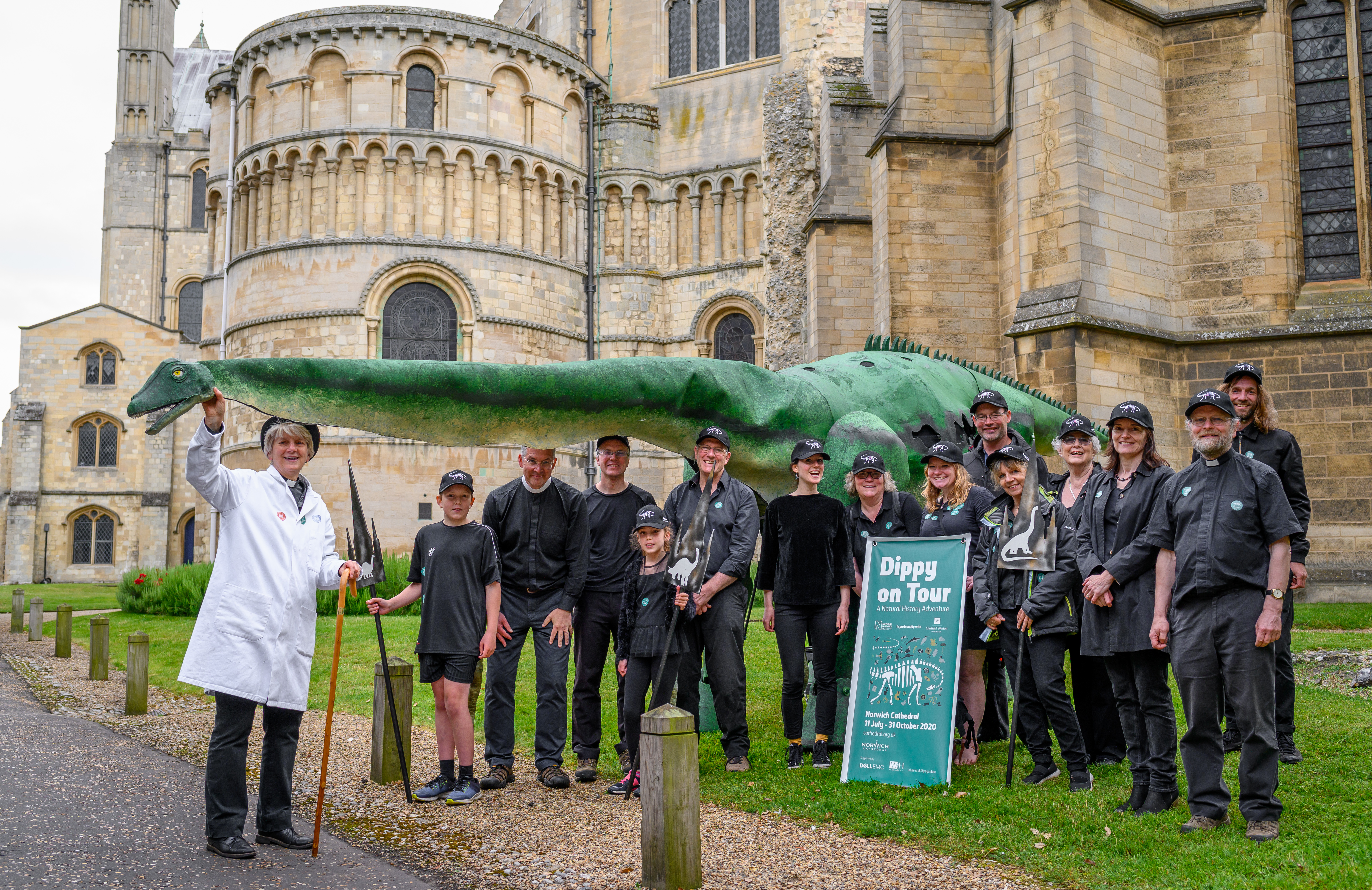 The Cathedral team with Ploddy the dinosaur puppet after the Lord Mayor's Procession (c) Bill Smith_Norwich Cathedral